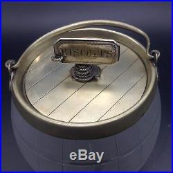 Antique Vintage Biscuit Tag Label Jar Rope Barrel Handled Jar Etched Cut Glass
