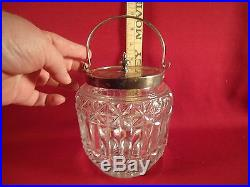 Antique Vintage Clear Cut Glass Biscuit Cookie Jar with Metal Rim and Handle
