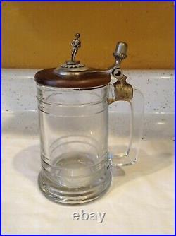 Antique Vintage Fort Glass Jar C Silver Handle Wood Lid Marked