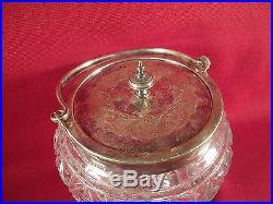 Antique Vintage Glass Biscuit Cookie Jar with Metal Rim and Handle