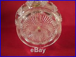 Antique Vintage Glass Biscuit Cookie Jar with Metal Rim and Handle EPNS Stamp