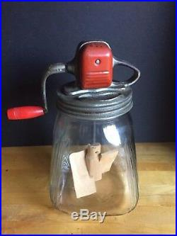Antique Vintage Glass Jar Butter Churn Kitchen Mixer with Red Wooden Handle
