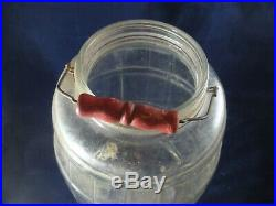 Antique Vintage Large Country Store Glass Pickle Barrel Jar Handle Green Lid