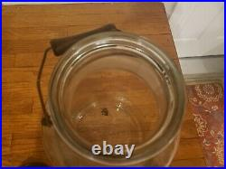 Antique Vintage Large Country Store Glass Pickle Jar with lid and Bale Handle