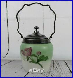 Antique Wavecrest Biscuit Barrel Jar Lid Finial Handle Glass Flowers Pink Green