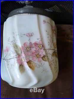 Antique Wavecrest Cracker Biscuit Barrel Jar Silver Plated LID & Handle Roses