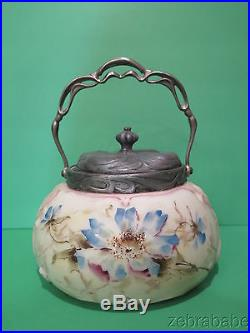 Antique Wavecrest Opal Ware Jar w Lid & Handle Floral