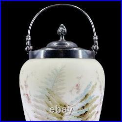 Antique Wavecrest Victorian Biscuit Jar Hand Painted Floral with Handle