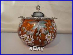 Art Glass Handpainted Cracker/Biscuit Jar- Amber Glass Silverplate Lid & Handle