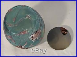 Art Nouveau Iridescent Bohemian Blue Glass Handled Jar Flower Patterns with Lid