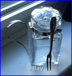 BACCARAT CRYSTAL GLASS JAR WITH METAL HANDLE AND FORK Baccarat mark on base