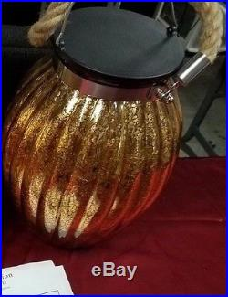 BEAUTIFULNew Large Ribbed Golden Speckled Glass Jar Lantern with Rope Handle