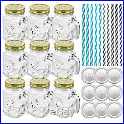 BEST Glass Drinking Jars Old Fashioned 16oz Mason Mugs with Handle Straws 9 Pack