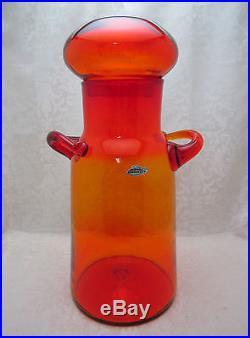 BLENKO 7327 Handled Dome Lidded Jar Tangerine Milk Jug NICKERSON 1970 -74