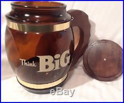 BROWN GLASS COOKIE JAR WithHANDLE & LID