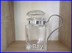 Baccarat Crystal Lidded Jam Condiment Jar, Silver Plated Handle, France