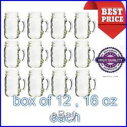 Ball Plain Mason Glass QUALITY Sturdy Jar Drinking Mugs 12 Pcs With Handle 16 oz