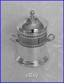 Barattolo Sheffield Edwardian Silver Plate Preserve Jar Twin Handles Glass Liner