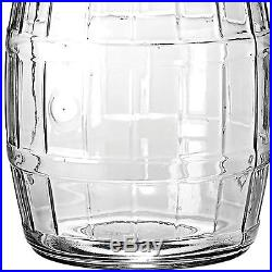 Barrel Jar 2.5 Gallon Glass Storage Container Vintage Inspired Lid Handle New