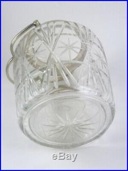 Beautiful Vintage Cut Glass MCM Atomic Starburst Biscuit Jar Handle Lid
