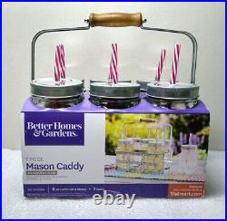 Better Homes & Gardens 7 Piece Mason Caddy with 6 Jars Straws NEW