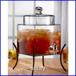 Beverage Dispenser Jar Handle Drinking Container Drink Juices Faucet Glass Steel