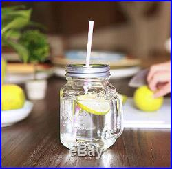 Beverage Drink Canning Glass Coloured Jars Glasses Handle Cups Drinking Mugs New