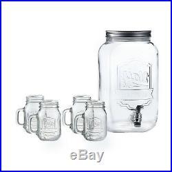 Beverage Water Dispenser 2 Gallon 4 Mason Jars Mug Ice Tea Drink Clear Glass New