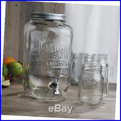 Beverage dispenser set dispenser (2 gallon)/ 4 mason jar mugs with handle