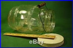 Big Vintage Antique Country Store Pickle Barrel Glass Jar With LID & Bail Handle