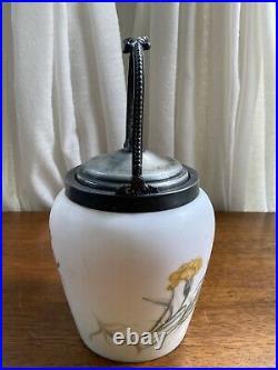Biscuit Cracker Jar Barrel Van Bergh Silver Plated Handle & Lid Hand Painted