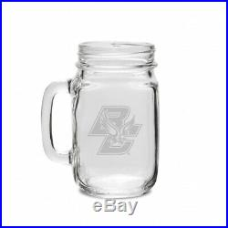 Boston College 470ml Deep Etched Old Fashion Drinking Jar with Handle. CC Glass