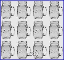 Bridal Wedding Set 12 USA Mason 16oz Jar Drinking Glasses Mugs Emb BALL MASON