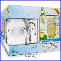 Bridal Wedding Set 4 USA BALL MASON 16oz Drinking Mugs Glasses Jars with Handles