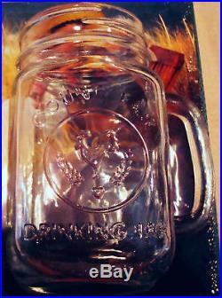 Bridal Wedding Set Lot 12 Mason Jar Drinking Glasses Mugs Embossed- County Fair