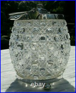 C1890 Antique English Cut Crystal Glass Biscuit Barrel Cookie Jar Rope Handle