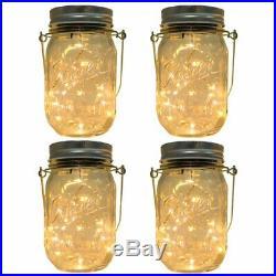 CHBKT 4-Pack Solar-powered Mason Jar Lights (Mason Jar / Handle Included), 20 Bul