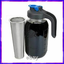 COFFEE MAKER Cold Brew Mason Jar with Handle Glass Lid 2 Quart 64 Oz COUNTY LINE