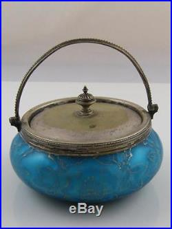 C. 1900 Quilted Cased Satin Glass Jar With Silver Plate LID And Handle