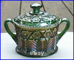Cambridge Green Carnival Glass Inverted Feather Handled Cracker/cookie Jar