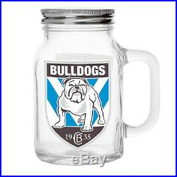 Canterburry Bulldogs NRL TEAM Glass Mason Jar With Handle Fathers Day Man Cave