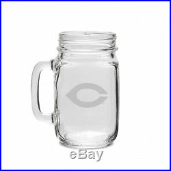 Chicago Maroons 470ml Deep Etched Old Fashion Drinking Jar with Handle. CC Glass