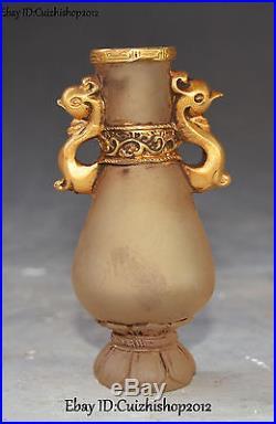 Chinese Gaze Glass Gild Phoenix Phenix Bird Handle Bottle Vase Jar Pot Statue