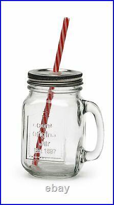 Circleware Country Glass Yorkshire Mason Jar Drinking Mugs with Handles, Meta
