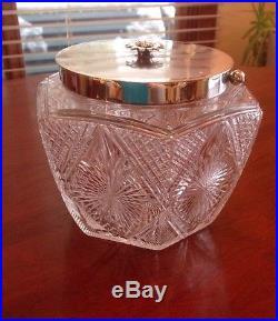 Clear Cut Glass Crystal Biscuit Barrel Jar Silverplated Lid Handle & Flower Knob
