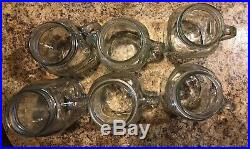 Clear Glass Golden Harvest Mason Drinking Jar with Handle 24 oz. Lot Of 6