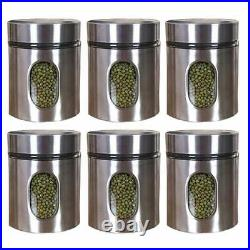 Clear Glass Steel Window Jars for Kitchen Storage Food Spices Canister Set 700