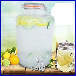 Clip Top Dispenser Drink Water Juice Punch Cocktail Tap Handled Glass Mugs Jar