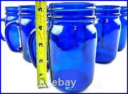 Cobalt Blue Drinking Mason Jars Glasses Mugs With Handles Set of 8
