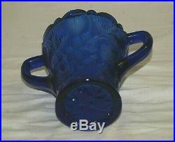 Cobalt Blue Inverted Strawberry by Cambridge EAPG Two Handled Celery Jar or Vase